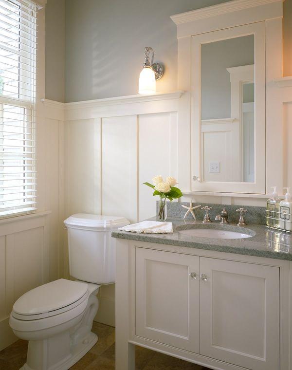 White Vanity With Grey Granite Top Wainscoting Beige Floors Great Powder Room