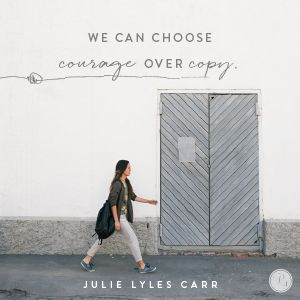Take courage with me in that amazing thought. We have much greater things to be doing than sizing ourselves up. Or down. Or measuring our kids against the neighbors'. Today, let's compose. Let's celebrate. Let's see what God will do when we stop comparing and start embracing that God loves to do new things. -Julie Lyles Carr