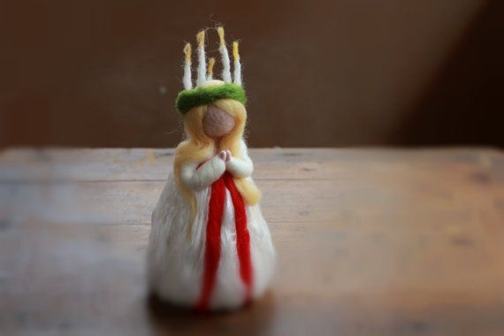 Needle Felted Santa Lucia LUCIA Saint Lucy by CloudBerryCrafts, $40.00