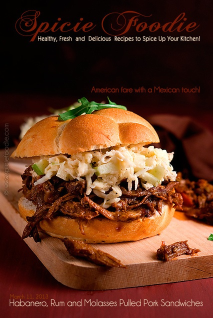 Habanero, Rum and Molasses Pulled Pork Sandwiches Recipe ...    Certainly a recipe to bookmark, this American pulled pork recipe has a south of the border twist, adding herbs and spices as well as an incredible rum and habanero molasses sauce. Slow-cooked pork is always good but this is one of the best recipes for it I have seen in a while.