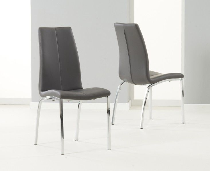 Mark Harris Carsen Grey Dining Chair Faux Leather Dining Chairs