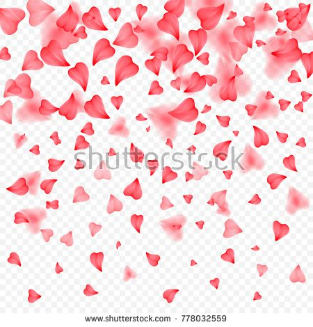 Valentines Day romantic background of red hearts petals falling. Realistic flower petal in shape of heart confetti. Love theme. Wedding item. Decor element for greeting cards or gift packages.
