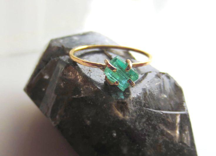 Emerald Engagement Ring Raw Emerald Ring Raw Crystal Ring Gemstone Ring Minimalist Ring Natural Emerald Ring Alternative Engagement Ring Raw by AlisonTitusJewelry on Etsy https://www.etsy.com/listing/542452909/emerald-engagement-ring-raw-emerald-ring