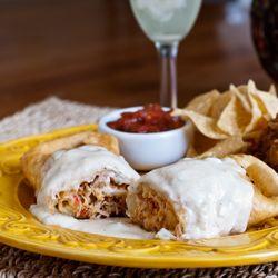 #Chicken Chimichanga with creamy White Sauce - so good.