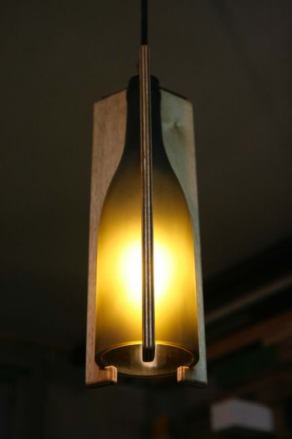 Recycled Wine Bottle Hanging Light Lamps & Lights Recycled Glass