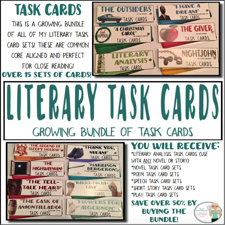 What is currently included in this bundle? This bundle currently contains 15 sets of task cards for literary analysis, novels, and short stories. As I continue to add more sets, you will get these for free by simply redownloading the bundle. How can I use this bundle? These task cards work perfectly for individual, small group, or whole class assignments, as during reading assignments or assessments, as interactive notebook pages or posters...the possibilities are endless.