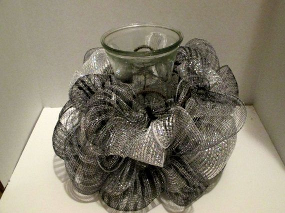 Centerpiece wedding decor black and silver by FunWithWreaths, $10.00