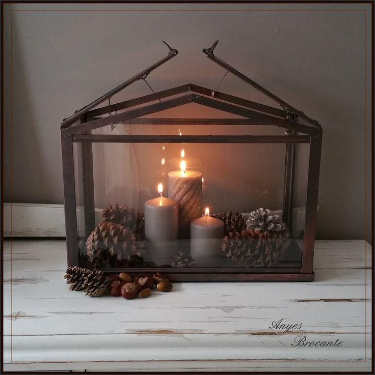 Simpel wit kweekkastje van Ikea omgetoverd tot lantaarn ♥ koperkleur/bruin najaarssfeer www.anyes-brocante.nl