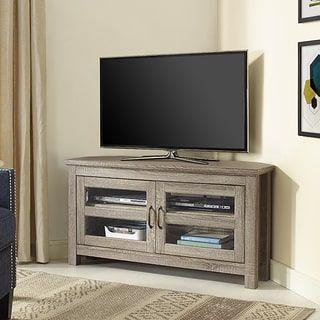 44-inch Wood Corner TV Stand - Driftwood