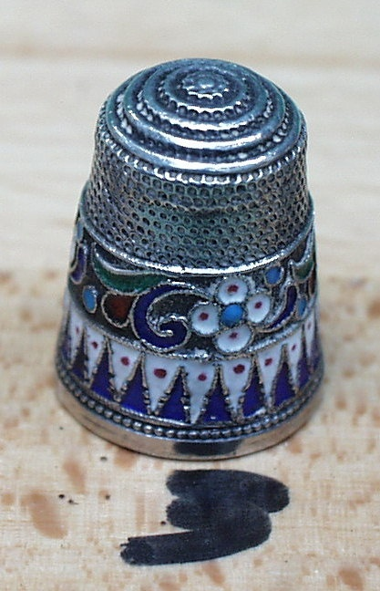 antique thimble russian enamel...OMG that color is gorgeous! Beautifulest!