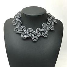 Nova moda handmade gargantilha colar trançado stardust colar declaração de tecido completa minúsculo resina cristal colar para mulheres presente(China (Mainland))