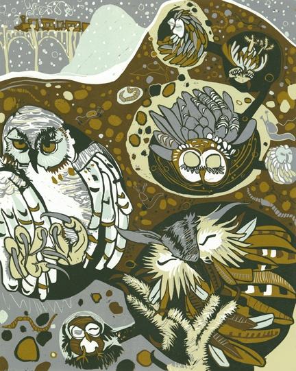 "Ithaca artist, Jenny Pope's, ""Underworld Owls"":"