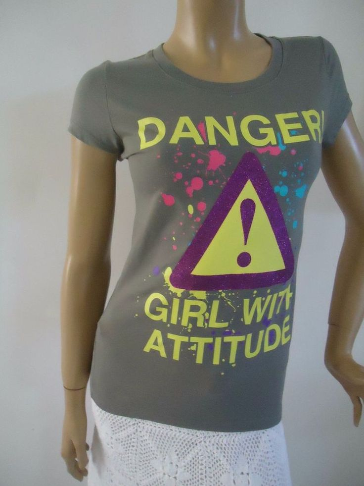 T Shirt Danger Girl With Attitude Glitter Gray Sz M Girls Juniors | Clothing, Shoes & Accessories, Kids' Clothing, Shoes & Accs, Girls' Clothing (Sizes 4 & Up) | eBay!