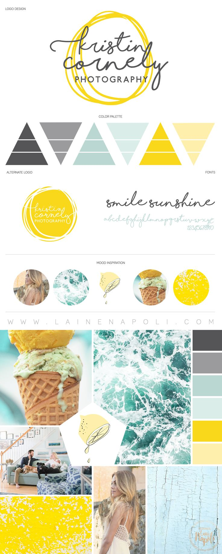 New launch from the Branding Studio. Kristin Cornely Photography. Sunshine Yellow, Grey, Light Blue, mood board with a touch of pure hapiness. Logo Design. Hand Drawn Sunshine Design. Photography Branding. Laine Napoli Branding www.lainenapoli.com