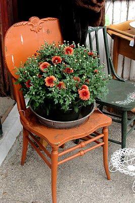 pumpkin flower pot chair