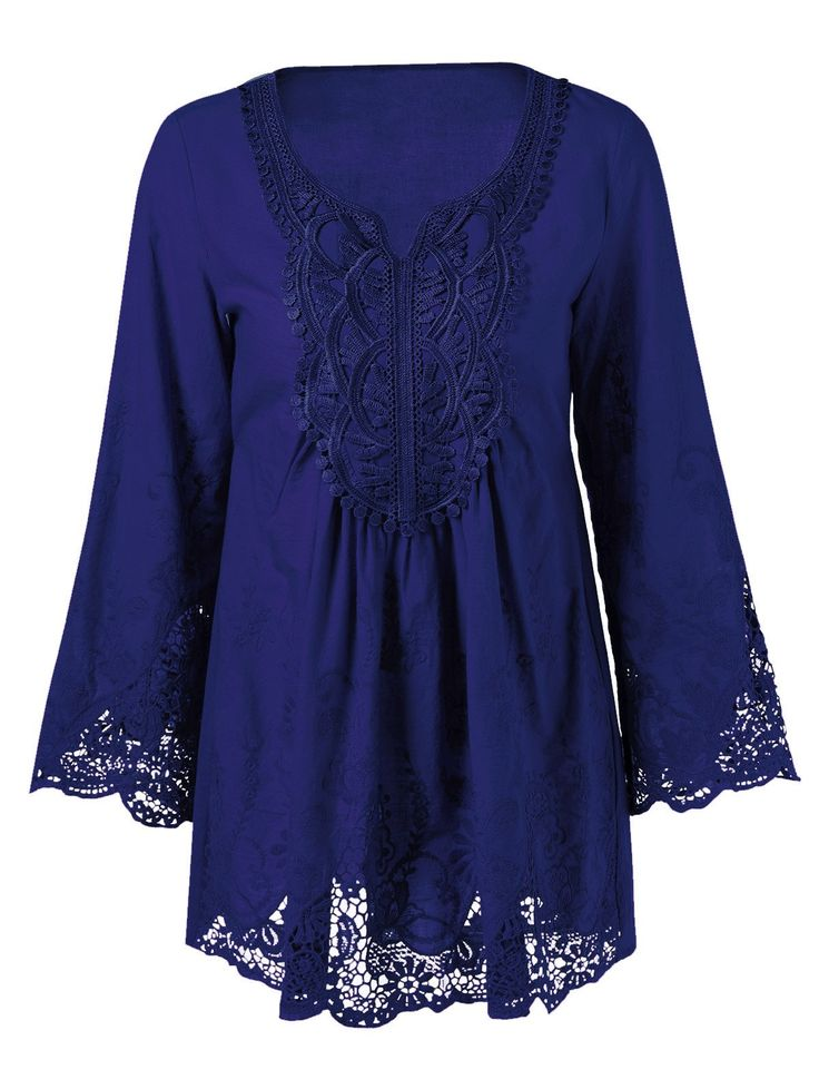 Plus Size Flare Sleeve Lace Patchwork Blouse