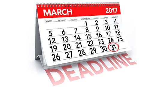Tax deadlines loom. March 31 is the deadline for employers, businesses and others to file certain information returns with the IRS electronically. Forms with a March 31 deadline include W-2G (Certain Gambling Winnings), 1096 (Annual Summary and Transmittal of U.S. Information Returns), 1098 (Mortgage Interest Statement), 1098-T (Tuition Statement), 1099 (except 1099-MISC for nonemployee compensation), 3921 (Exercise of an Incentive Stock Option Under Section 422(b)), and 8027 (Employer's Annual Information Return of Tip Income and Allocated Tips).