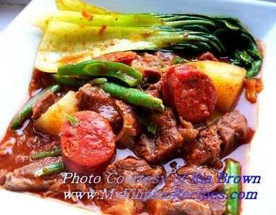 Filipino Beef Pochero Recipe - I add kielbasa and red potatoes. Instead of broth, boil tomato sauce with can of water. .   / #BeefPuchero