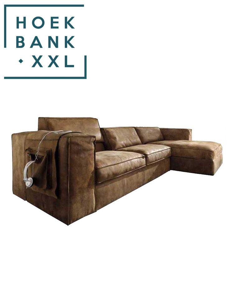 Elementenbank Sassari met longchair. Grote lounge bank verkrijgbaar in verschillende elementen. U heeft keuze uit verschillende soorten leer zodat het perfect past in uw woonkamer.   HoekbankXXL