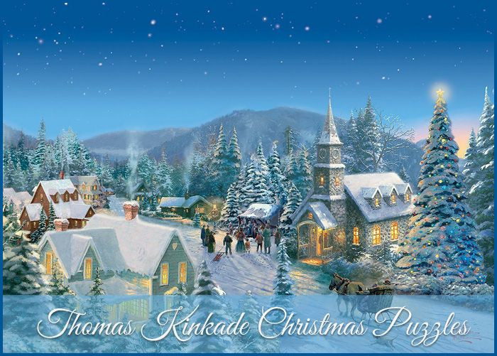 If you are a fan of Thomas Kinkade's artwork you will love this selection of Thomas Kinkade Christmas Puzzles.  http://jigsawpuzzlesforadults.com/thomas-kinkade-christmas-puzzles/