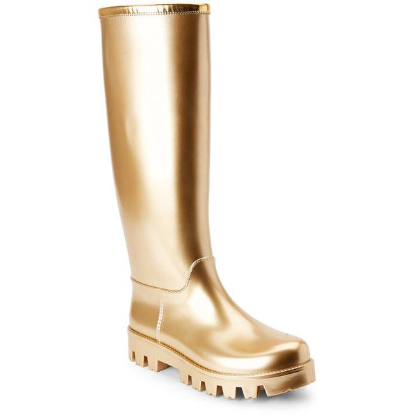 Gold Metallic Tall Rain Boots - Century 21 ($200) ❤ liked on Polyvore featuring shoes, boots, tall rubber boots, gold metallic boots, tall knee high boots, wellies boots and wellington boots