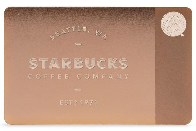 Starbucks and Gilt.com produced handmade, laser-etched Gift Cards for holiday 2013. Made of rose gold-tinted metal and retailing for $450 each ($50 for the card + $400 in store credit) the limited-edition run of 1,000 cards sold out in minutes.