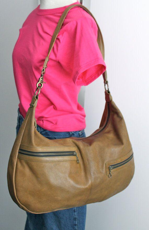 vintage LL Bean large leather slouch bag // olive by RedTuTuRetro, $85.00