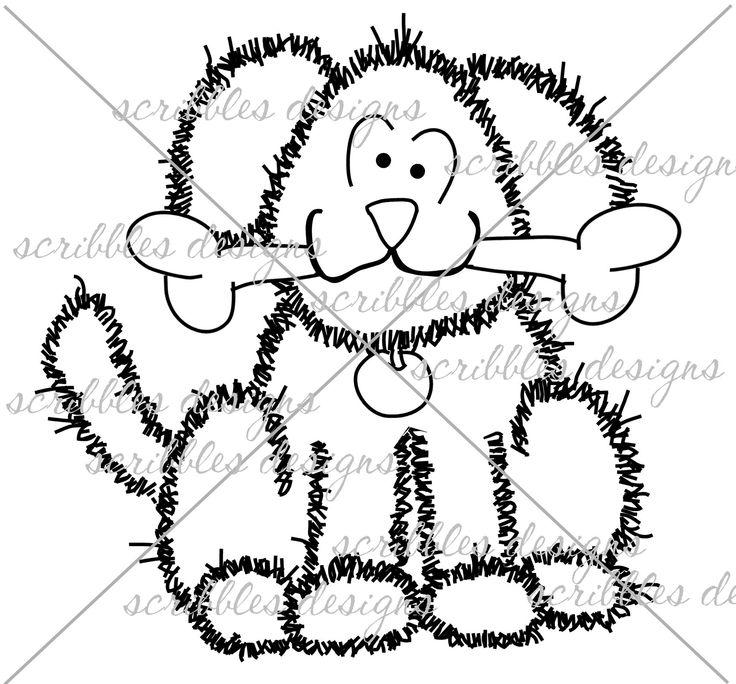 $3.00 Dog Bone (http://buyscribblesdesigns.blogspot.ca/2014/03/417-dog-bone-300.html) #digital stamps #digis #dog #puppy #dogbone #scribbles designs