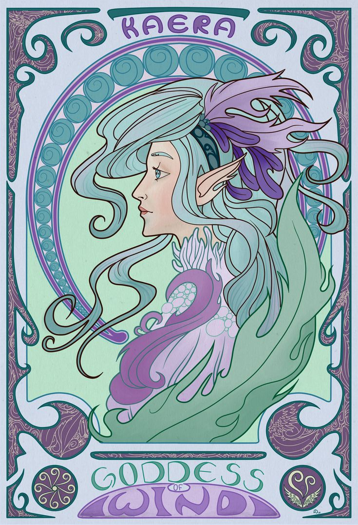 Wanted to try out the style of Alphonse Mucha with one of my characters.