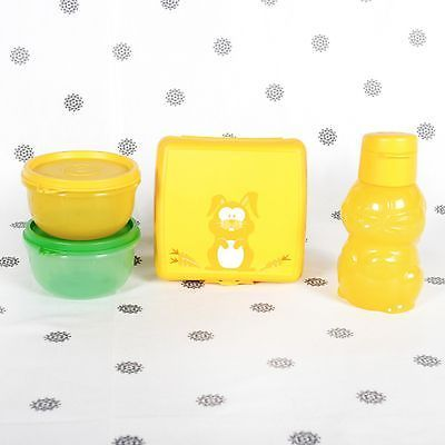 Tupperware Kids Lunch Set Rabbit Sandwich Keeper  Drink Bottle and Snack Cups
