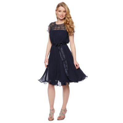 No. 1 Jenny Packham Designer navy pleated embellished dress- at Debenhams.com
