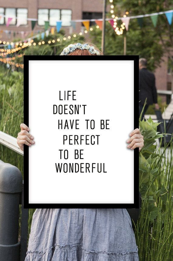 "Inspirational Quote Typography Print Wall Decor ""Life Doesn't Have to be Perfect to be Wonderful"" Letterpress Poster Style Summer Trends"