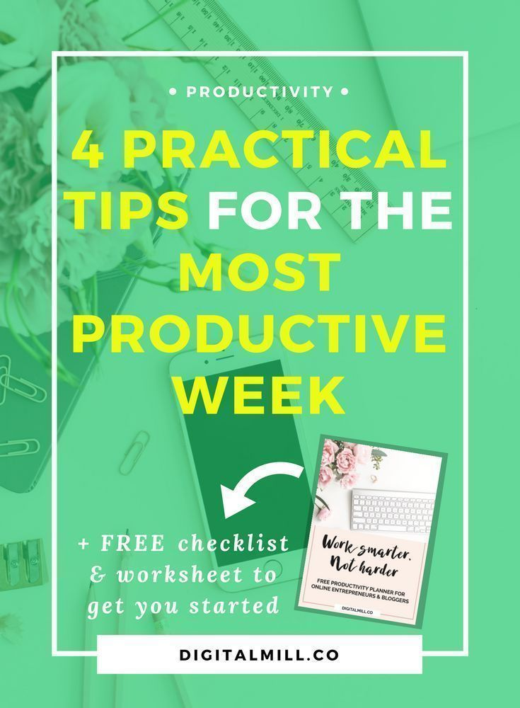 Learn 4 practical productivity tips for the most productive week ever as blogger, entrepreneur, and online business owner. Read now or pin for later >> #onlinebusiness #entrepreneur #solopreneur