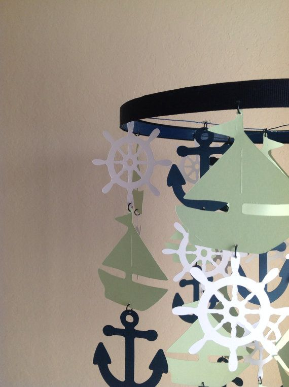 Lime green navy white Nautical Crib Mobile by MadeByKatee on Etsy, $75.00