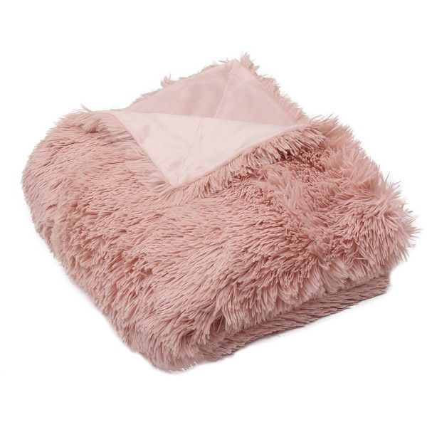 Pink Faux Fur Throw Blanket (£29) ❤ liked on Polyvore featuring home, bed & bath, bedding, blankets, pink bedding, faux fur blanket, fake fur blanket, pink faux fur throw blanket and pink throw