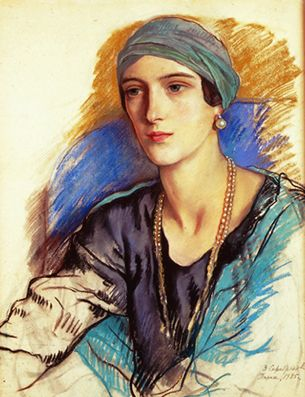 I believe this is Irina Yusupova, wife of Felix and niece of Nikolai ll, in a portrait by Zinaida Serebriakova.