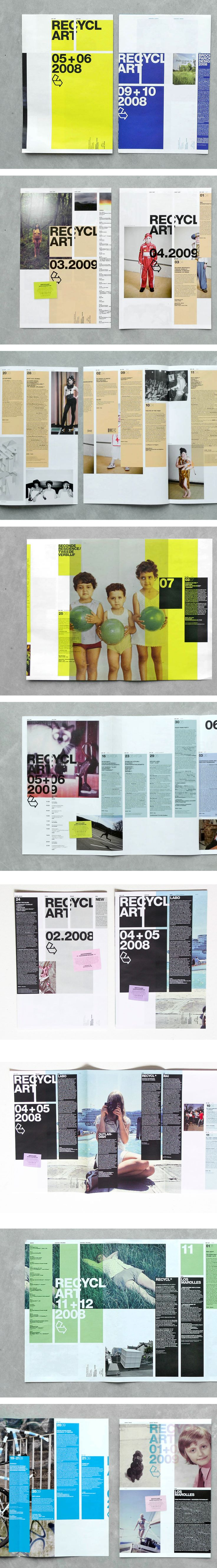 Recyclart 2009 #magazine #layout I really like the color blocks and the photos and color scheme, this might be good for a fashion or modern art magazine
