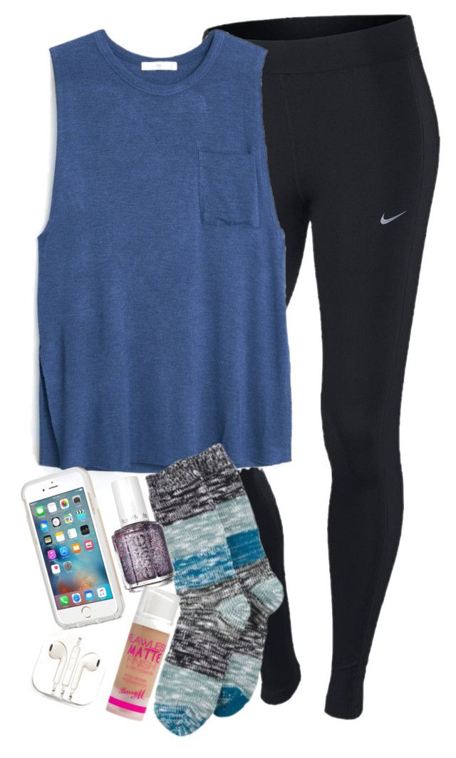 """""""i just wanna be okay be okay be okay i just wanna be okay today"""" by elizabethannee ❤ liked on Polyvore featuring NIKE, MANGO, Hue, Essie, Barry M, PhunkeeTree, women's clothing, women's fashion, women and female"""