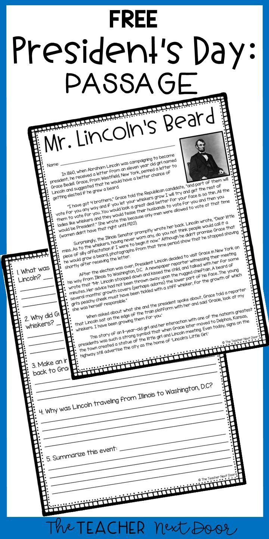 - President's Day Freebie Mr. Lincoln's Beard President's Day