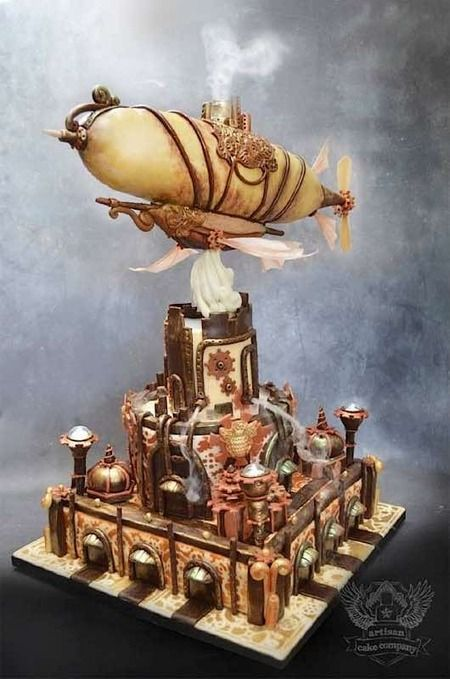 "Look closely; there's actually dry ice ""smoke"" pouring out of the dirigible *and* the lower pipelines!  Artisan Cake Company"