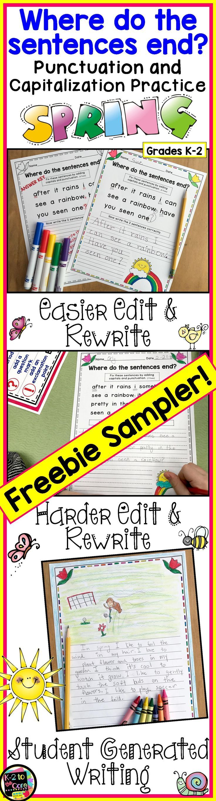 "FREE SAMPLE PAGES from my spring-themed ""Where do the sentences end?"" resource. Provide your K-2 students with reading, writing, capitalization, and punctuation practice with these NO PREP differentiated (three levels) editing sheets. Each page has 2, 3, or 4 springtime themed sentences with missing capitals and punctuation. Your students' job is to figure out where the sentences end, edit the sentences, and then rewrite them correctly. Click for more info! #spring #punctuation…"