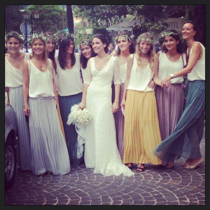 mariée et demoiselles d'honneur bohèmes