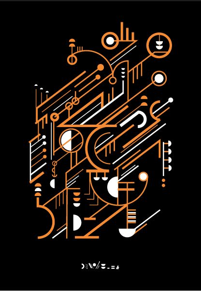 Alive For Art Inspiration | Artist interview w/pics! Petros Afshar is a freelancing graphic designer...Orange And White Artistic Vector Design Featuring Angled Lines And Geometric Forms