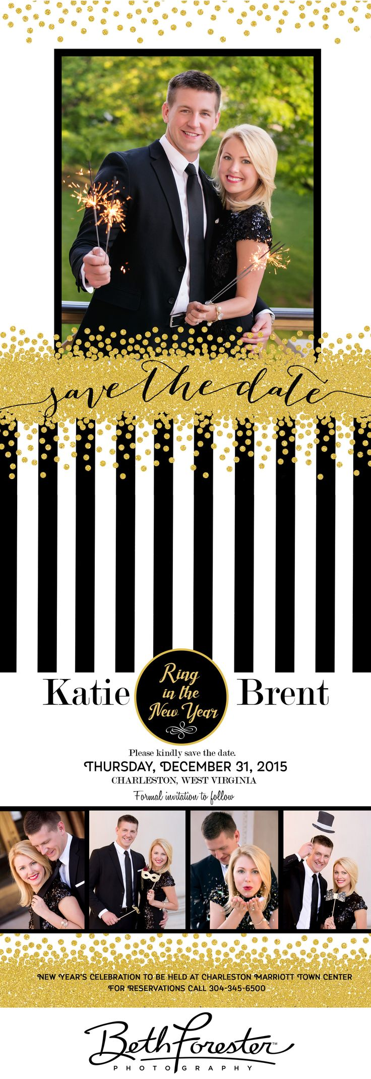 New Year's Eve | Wedding Save the Date Cards | WV wedding | Sparklers | Glitter | Back and Gold wedding ideas | New Years Eve Wedding ideas