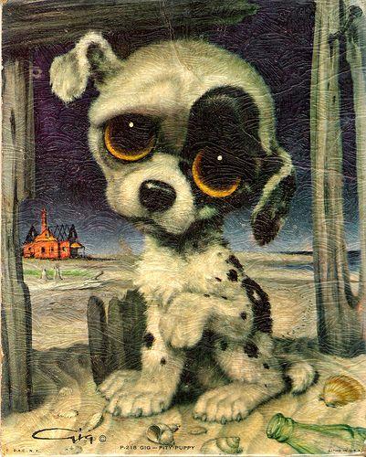 Vintage Big Eyed Pity Puppy by Gig
