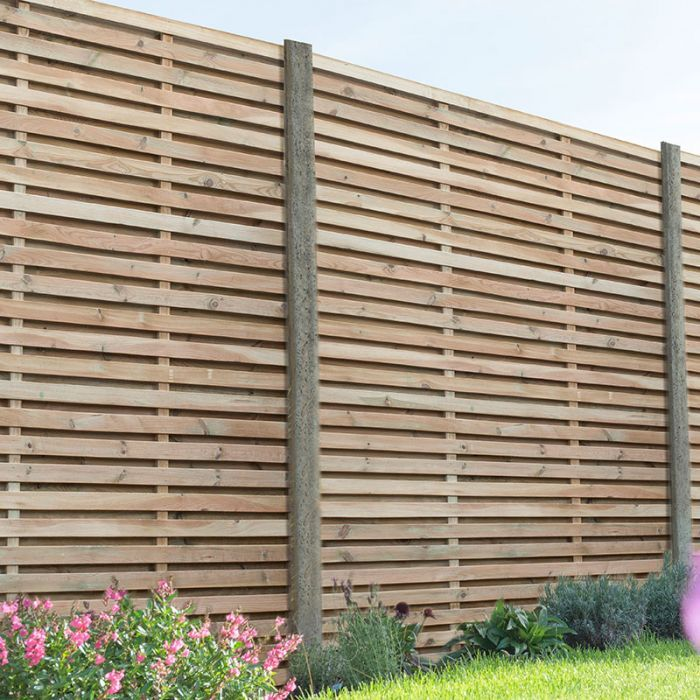Forest 5 11 X 5 11 Pressure Treated Contemporary Double Slatted Fence Panel 1 8m X 1 8m In 2020 Garden Fence Panels Slatted Fence Panels 6ft Fence Panels