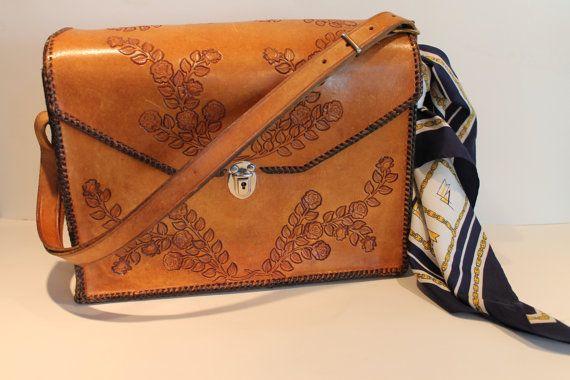 Vintage Tooled Leather Handbag  Leather Roses  by FunkieFrocks
