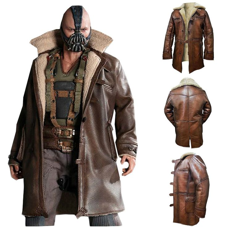 Mens Winter Coats Amazon Best Seller Real Leather Bane Coat Amazon Brown With Artificial Fur Bane Tom Hardy The Dark Knight Rises