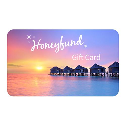 The Honeyfund Gift Card is a travel gift card redeemable for unlimited experiences around the world via major airline gift cards, hotel gifts cards and more.