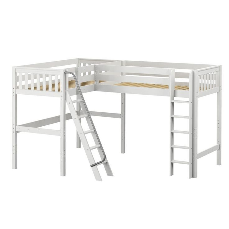 twin twin or twin full corner loft bed for multiple children in chestnut white or natural finishes